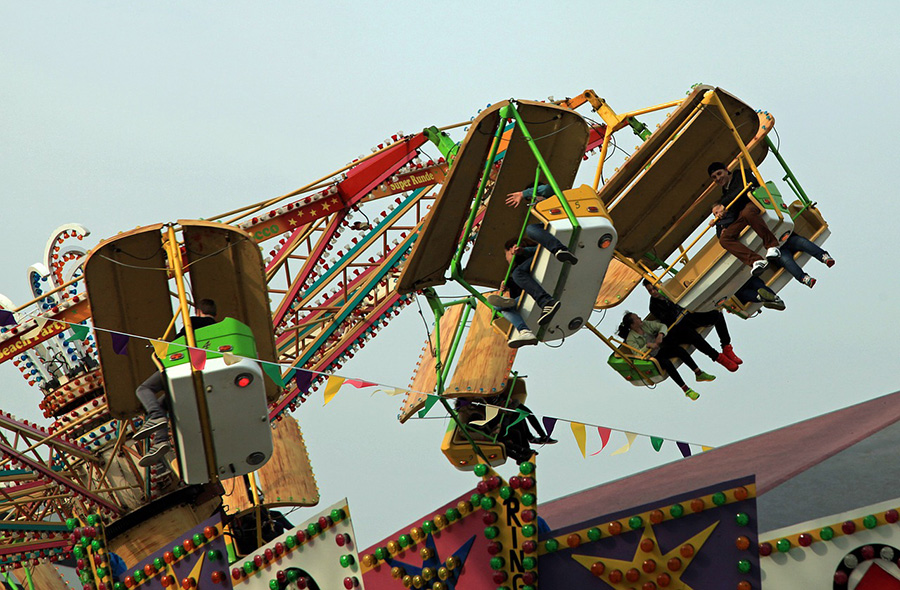 Travelling fairground.